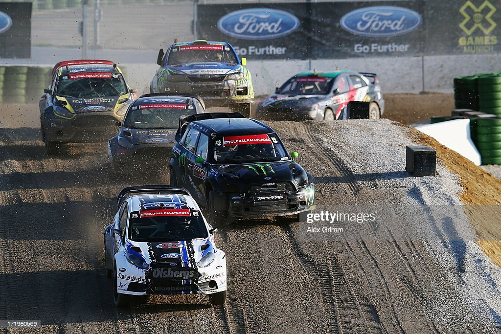 Toomas Heikkinen of Finland leads the pack during the final of the Ford RallyCross competition on Day 4 of the X-Games at FroettmaRing on June 30, 2013 in Munich, Germany.