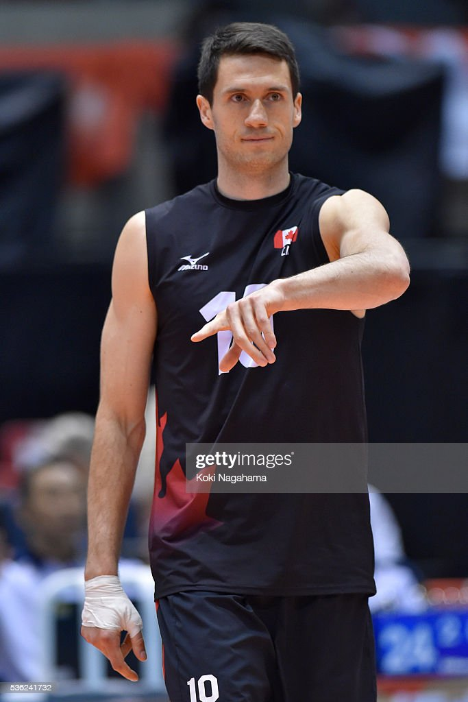 Toontje Van Lankvelt #10 of Canada looks on during the Men's World Olympic Qualification game between Venezuela and Canada at Tokyo Metropolitan Gymnasium on June 1, 2016 in Tokyo, Japan.