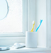 Tooth brushes in cup sitting on bathrrom window