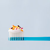 Toothbrush and tooth paste with candy sprinkles