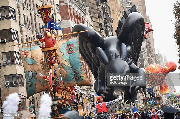 'Toothless' of How To Train Your Dragon balloon during the 88th Annual Macy's Thanksgiving Day Parade on November 27 2014 in New York City
