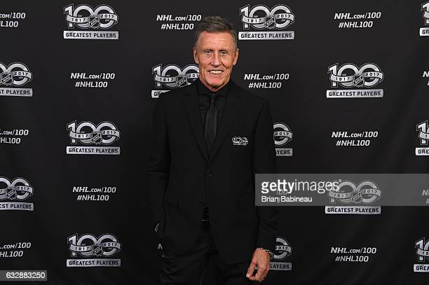Top 100 player Borje Salming poses for a portrait at the Microsoft Theater as part of the 2017 NHL AllStar Weekend on January 27 2017 in Los Angeles...