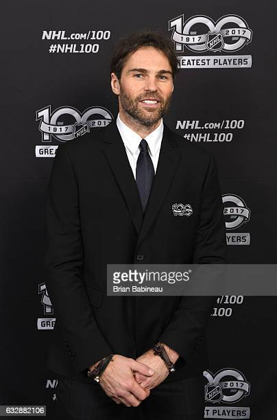 Top 100 player Jaromir Jagr poses for a portrait at the Microsoft Theater as part of the 2017 NHL AllStar Weekend on January 27 2017 in Los Angeles...