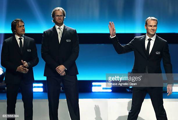 Top 100 player Nicklas Lidstrom waves to the audience during the NHL 100 presented by GEICO show as part of the 2017 NHL AllStar Weekend at the...