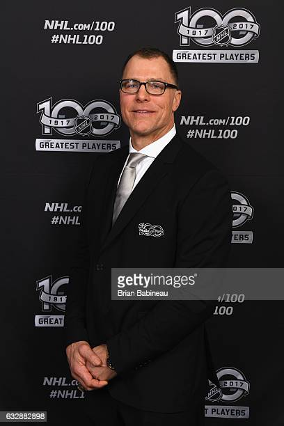 Top 100 player Scott Stevens poses for a portrait at the Microsoft Theater as part of the 2017 NHL AllStar Weekend on January 27 2017 in Los Angeles...