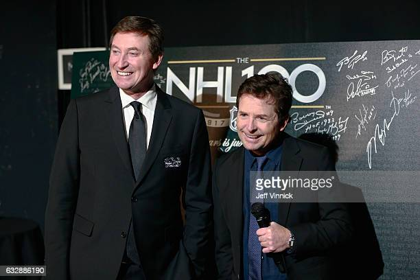Top 100 player Wayne Gretzky talks to actor Michael J Fox during the NHL 100 presented by GEICO show as part of the 2017 NHL AllStar Weekend at the...