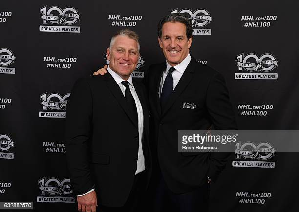 Top 100 players Brett Hull and Brendan Shanahan pose for a portrait at the Microsoft Theater as part of the 2017 NHL AllStar Weekend on January 27...