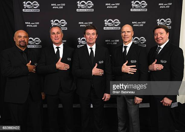 NHL Top 100 players Grant Fuhr Paul Coffey Wayne Gretzky Mark Messier and Jari Kurri pose for a portrait at the Microsoft Theater as part of the 2017...