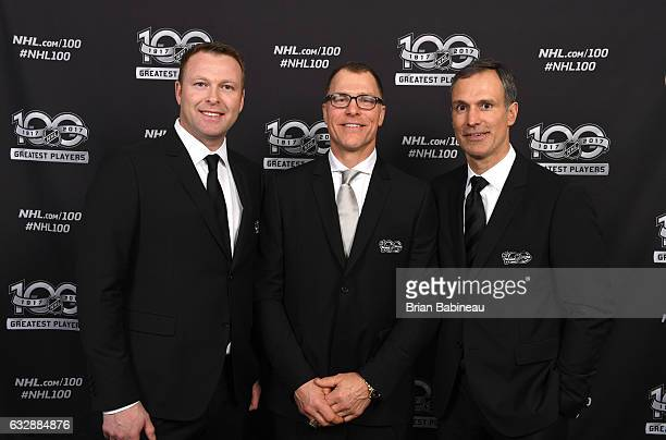 Top 100 players Martin Brodeur Scott Stevens and Scott Niedermayer pose for a portrait at the Microsoft Theater as part of the 2017 NHL AllStar...