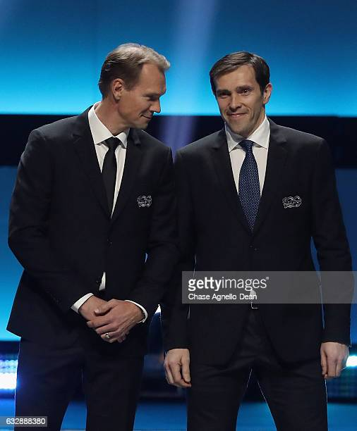 Top 100 players Nicklas Lidstrom and Pavel Datsyuk stand onstage during the NHL 100 presented by GEICO show as part of the 2017 NHL AllStar Weekend...