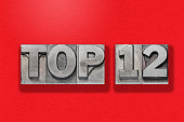top twelve metallic letterpress numbers assembled on red textured background