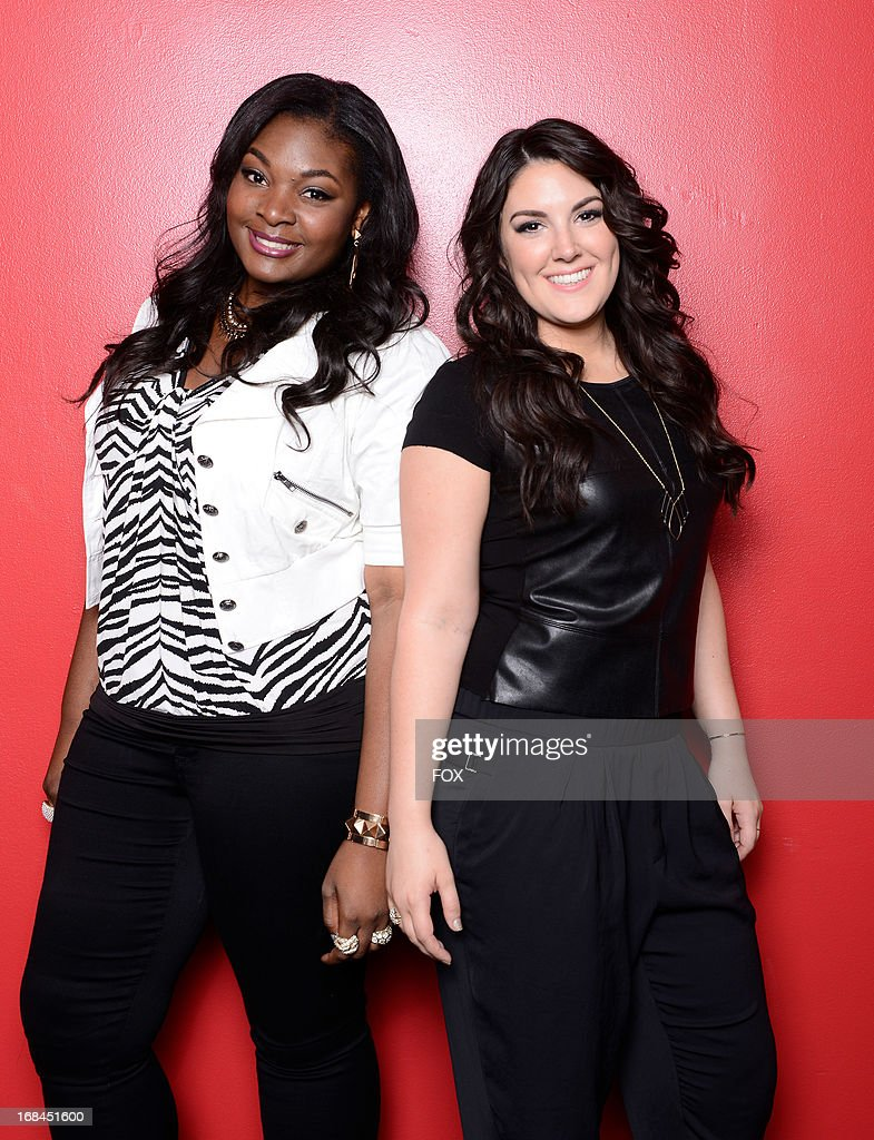 Top 2 contestants Candice Glover (L) and Kree Harrison backstage at FOX's 'American Idol' Season 12 Top 3 to 2 Live Elimination Show on May 9, 2013 in Hollywood, California.