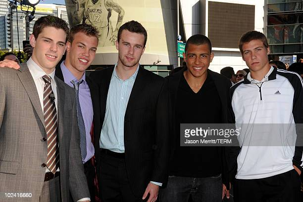 Top 2010 NHL Entry Draft Prospects Tyler Seguin Taylor Hall Brett Connolly Emerson Etem Beau Bennett arrive to the premiere of Summit Entertainment's...