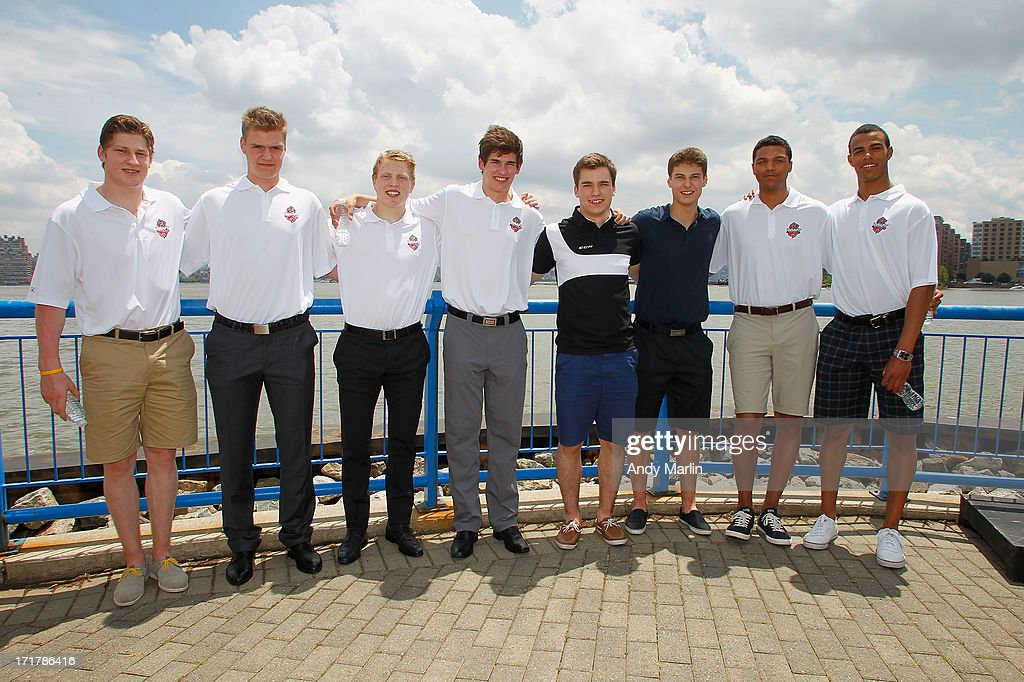 Top 2013 NHL prospects (L-R) <a gi-track='captionPersonalityLinkClicked' href=/galleries/search?phrase=Nathan+MacKinnon&family=editorial&specificpeople=8610127 ng-click='$event.stopPropagation()'>Nathan MacKinnon</a>, <a gi-track='captionPersonalityLinkClicked' href=/galleries/search?phrase=Aleksander+Barkov&family=editorial&specificpeople=8760147 ng-click='$event.stopPropagation()'>Aleksander Barkov</a>, <a gi-track='captionPersonalityLinkClicked' href=/galleries/search?phrase=Hunter+Shinkaruk&family=editorial&specificpeople=7619011 ng-click='$event.stopPropagation()'>Hunter Shinkaruk</a>, Sean Monahan, Jonathan Drouin, Zach Fucale, Seth Jones and <a gi-track='captionPersonalityLinkClicked' href=/galleries/search?phrase=Darnell+Nurse&family=editorial&specificpeople=9156575 ng-click='$event.stopPropagation()'>Darnell Nurse</a> pose for a photo during the Top Prospects Media Availabilty at Sheraton Lincoln Harbor Hotel on June 28, 2013 in Weehawken, New Jersey.
