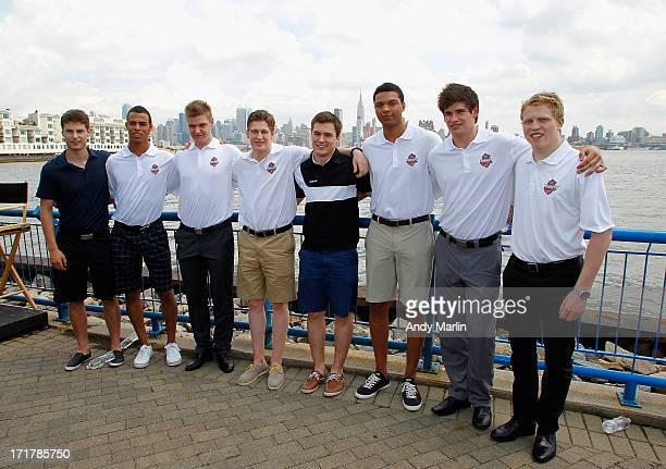 Top 2013 NHL prospects Zach Fucale Darnell Nurse Aleksander Barkov Nathan MacKinnon Jonathan Drouin Seth Jones Sean Monahan and Hunter Shinkaruk pose...