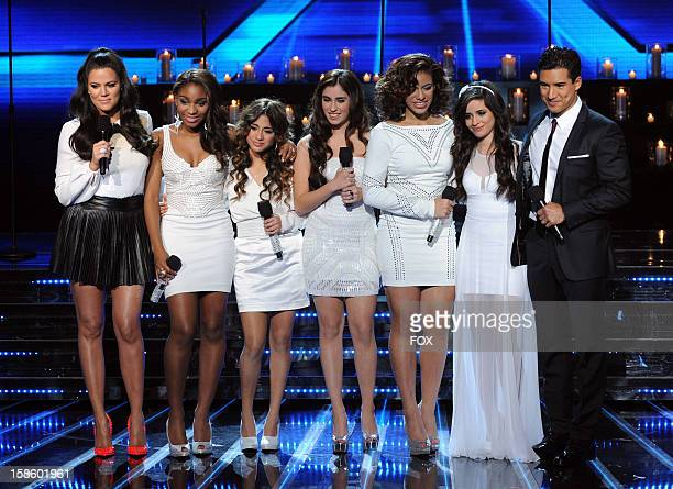 Top 3 contestant Fifth Harmony and hosts Khloe Kardashian Odom and Mario Lopez onstage at FOX's 'The X Factor' Season 2 Top 3 Live Performance Show...