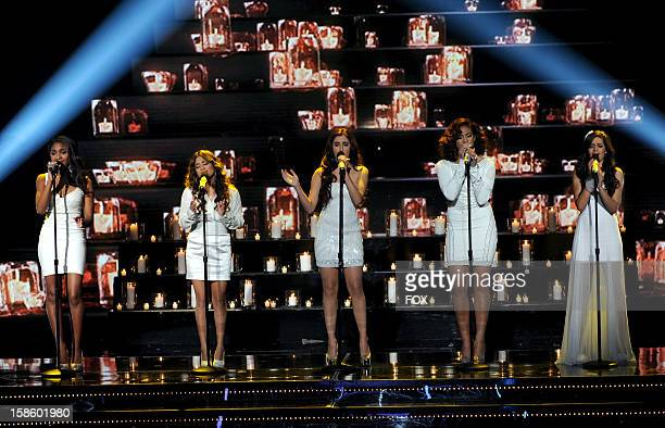 Top 3 contestant Fifth Harmony performs onstage at FOX's 'The X Factor' Season 2 Top 3 Live Performance Show on December 19 2012 in Hollywood...