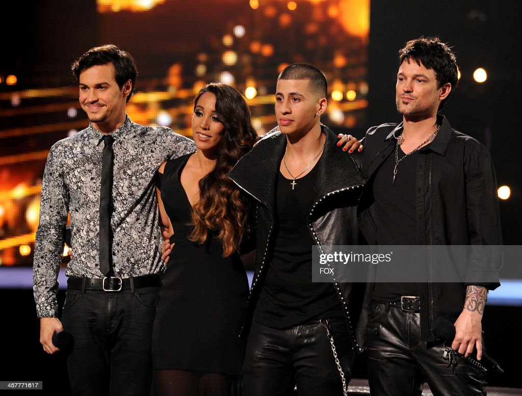Top 3 finallists Alex & Sierra, Carlito Olivero and Jeff Gutt on FOX's 'The X Factor' Season 3 Top 3 Live Finale Performance Show on December 18, 2013 in Hollywood, California.