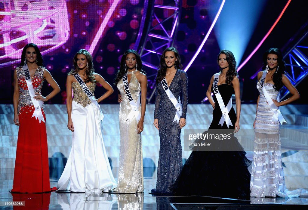 Top 6 finalists (L-R) Miss Texas USA Alexandria Nichole Nugent, Miss Connecticut USA Erin Brady, Miss South Carolina USA Megan Tyler Pinckney, Miss Illinois USA Stacie Juris, Miss Alabama USA Mary Margaret McCord and Miss Utah USA Marissa Powell appear during the 2013 Miss USA pageant at PH Live at Planet Hollywood Resort & Casino on June 16, 2013 in Las Vegas, Nevada. Brady was crowned the new Miss USA and McCord was named the first runner-up.