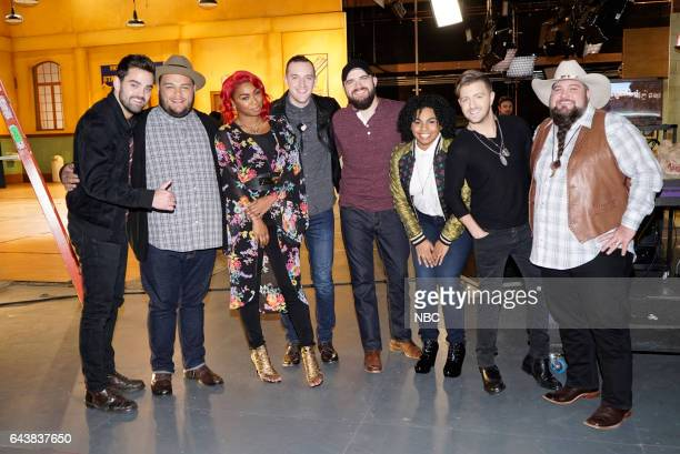 THE VOICE 'Top 8 Reality' Episode 1117 Pictured Brendan Fletcher Christian Cuevas Ali Caldwell Aaron Gibson Josh Gallagher We McDonald Billy Gilman...