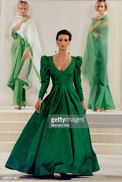 Top a green taffeta ball gown from his spring line showsScaasi's specialty the fairy tale dress with a flattering neckline