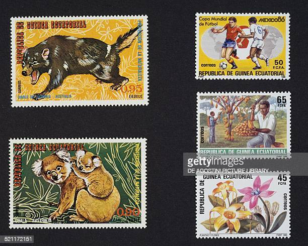 Top and bottom left postage stamp from the series honouring Australia animals depicting a Tasmanian devil and Koala top right commemorating the 1986...