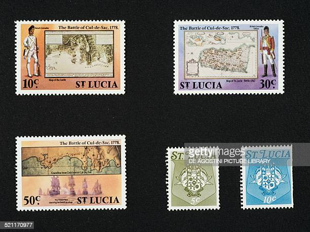 Top and bottom left postage stamps from the series commemorating the Battle of the Cul de Sac between the French and English depicting British...
