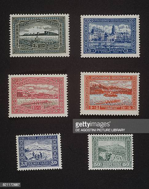 Top and centre series of postage stamps commemorating the European Rowing Championships won by Yugoslavia Walled city Port of Split the Danube in...