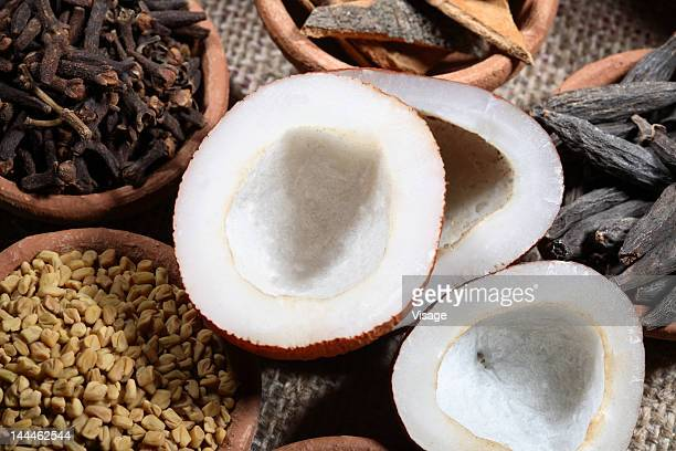 Top angle view of coconut halves