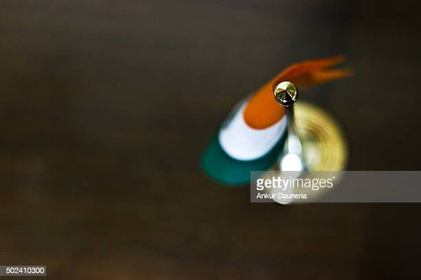 Top angle view of Table Flag of India