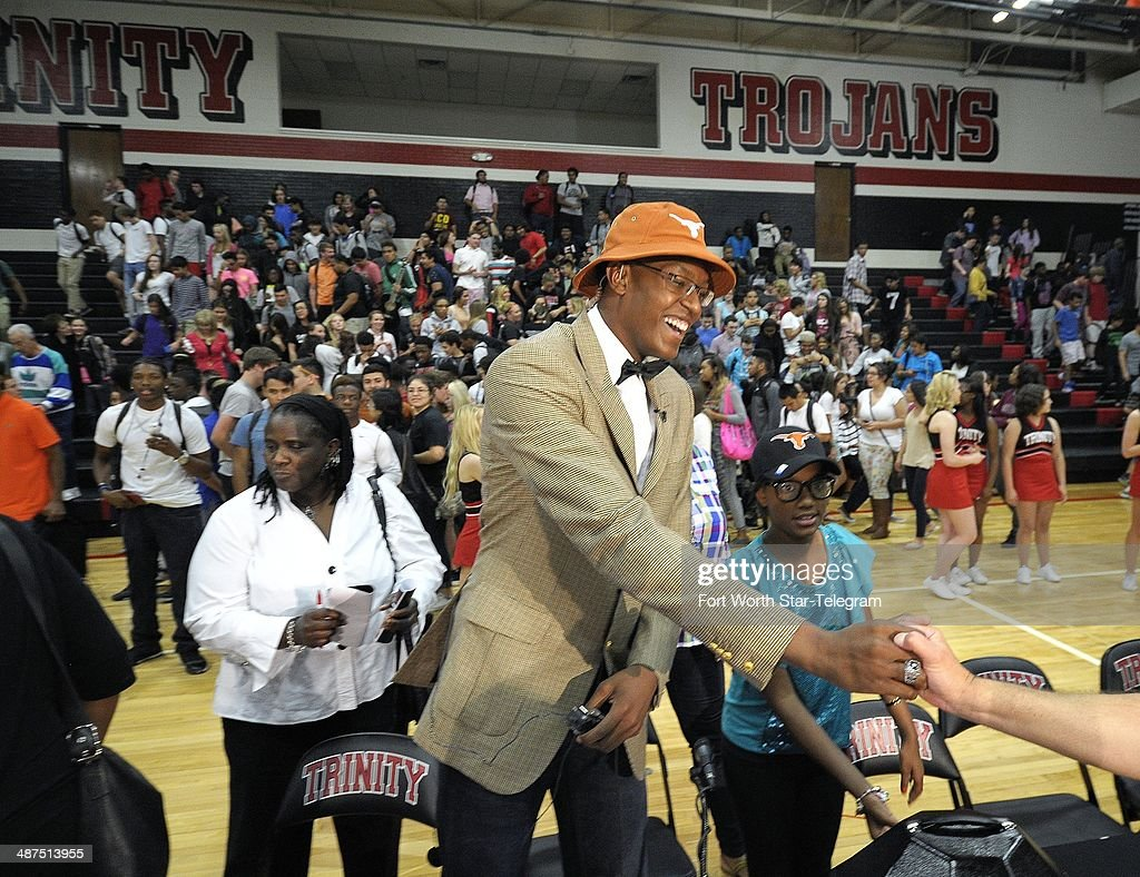 Top basketball player Myles Turner announced that he will attend and play for the University of Texas, during ESPN broadcast at Trinity High School gym in Euless, Texas, Wednesday, April 30, 2014.