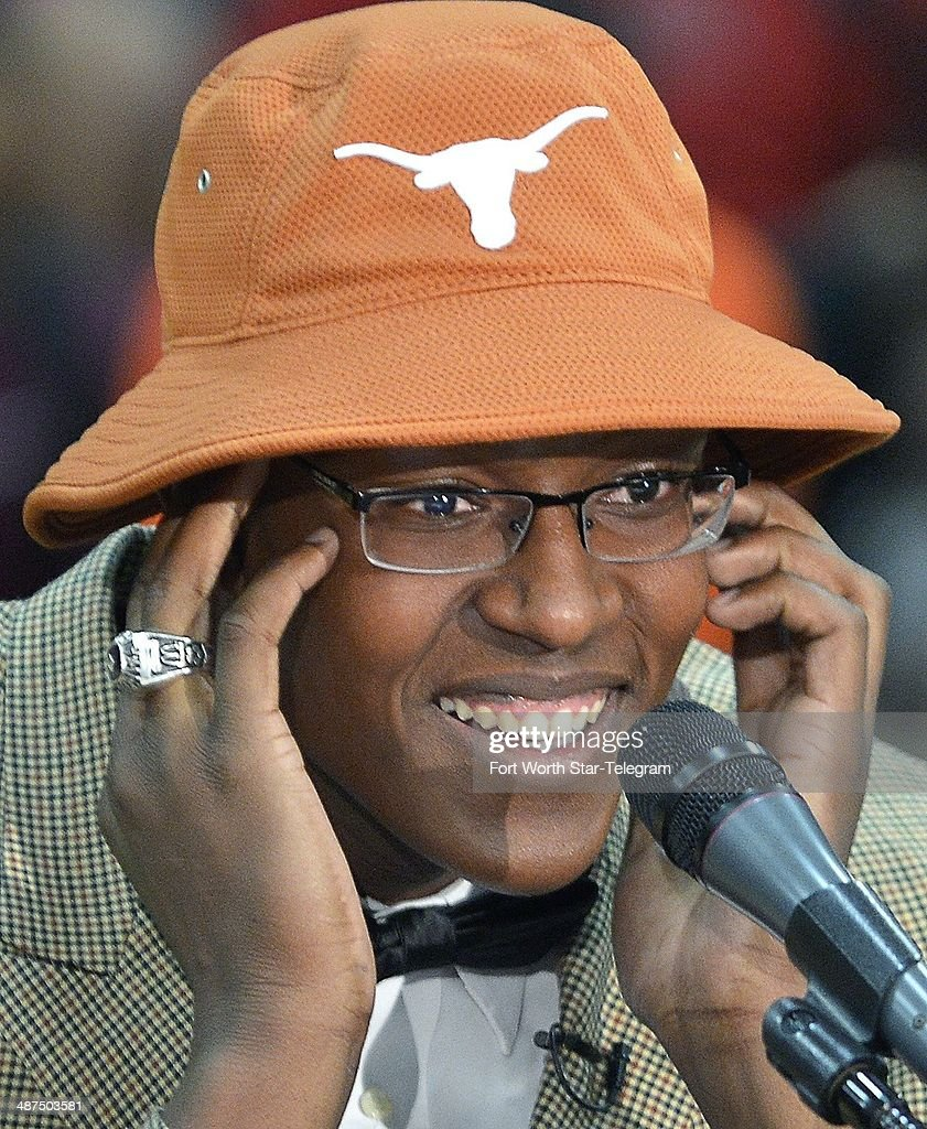 Top basketball player Myles Turner announces that he will attend and play for the University of Texas, during ESPN broadcast at Trinity High School gym in Euless, Texas, Wednesday, April 30, 2014.