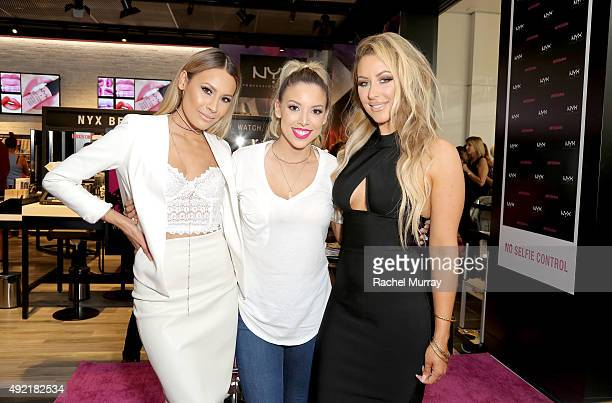 Top beauty influencers Desimakeup LustreLux and Chrisspy attend the grand opening celebration of the NYX Cosmetics store in Del Amo Fashion Center on...