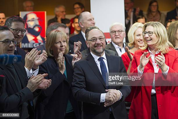 SPD top candidate for federal election Martin Schulz receives applause after his speech on January 29 2017 in Berlin Germany Germany will hold...