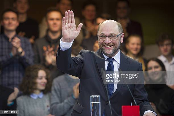 SPD top candidate for federal election Martin Schulz waves on January 29 2017 in Berlin Germany Germany will hold federal elections in September
