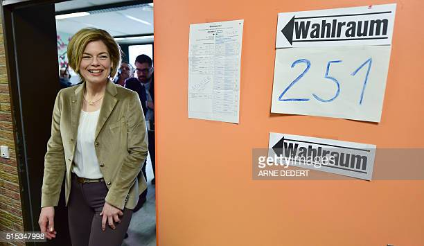 Top candidate for the Christian Democratic Union in RhinelandPalatinate Julia Kloeckner leaves the election room after casting her ballot in Bad...