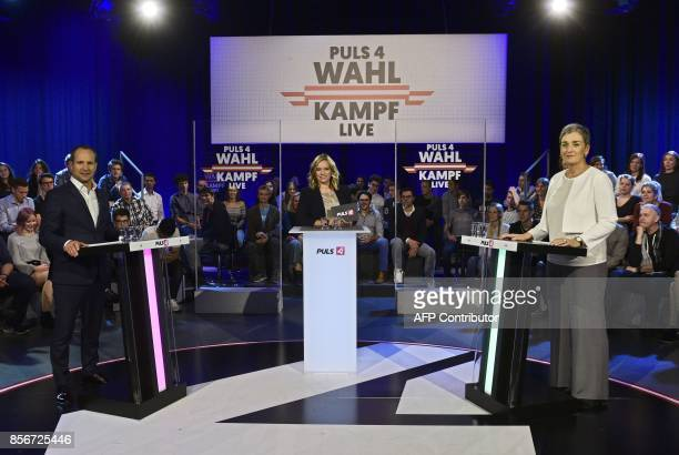 top candidate Matthias Strolz tv host Corinna Milborn and top candidate of the Green party Ulrike Lunacek attend the national election top candidates...