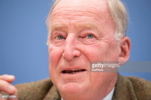 Top candidate of Alternative for Germany Alexander Gauland is pictured during a press conference on the day after the elections at the...