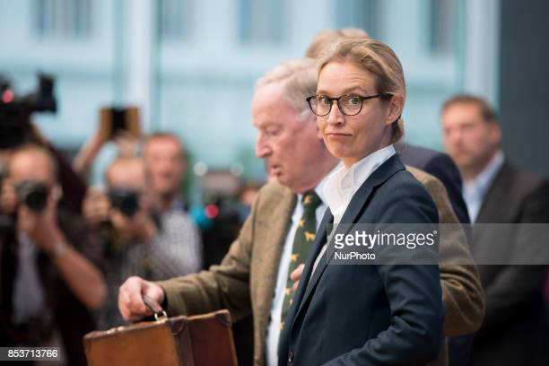 Top candidate of Alternative for Germany Alice Weidel arrives to a press conference on the day after the elections at the Bundespressekonferenz on...