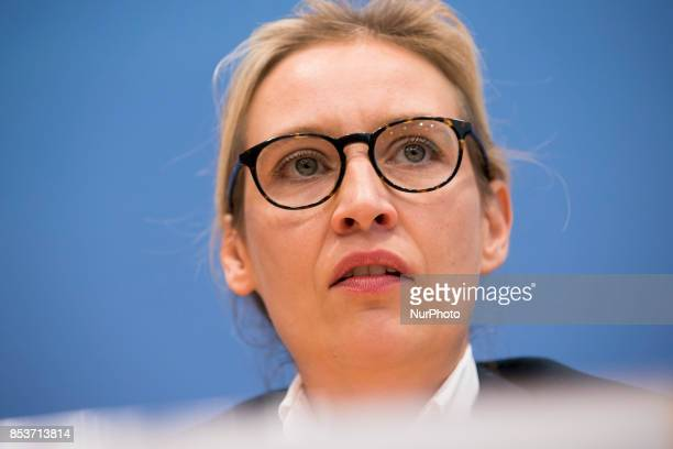 Top candidate of Alternative for Germany Alice Weidel speaks during a press conference on the day after the elections at the Bundespressekonferenz on...