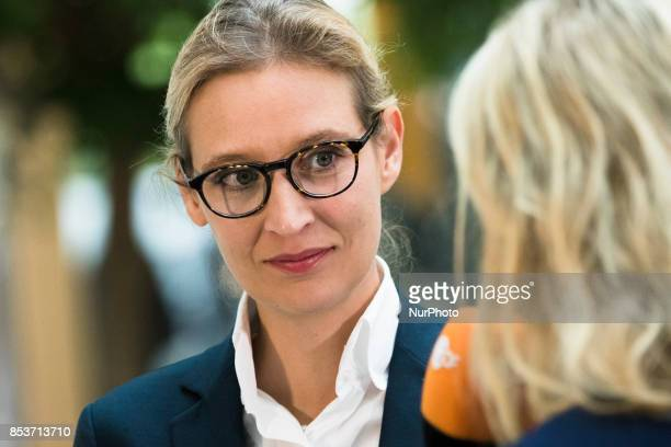 Top candidate of Alternative for Germany Alice Weidel speaks to the media prior to a press conference on the day after the elections at the...