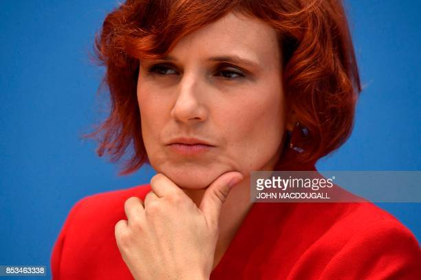 Top candidate of Die Linke party Sahra Wagenknecht attends a press conference in Berlin on September 25 one day after general elections Germany voted...