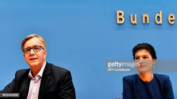 Top candidate of Die Linke party Sahra Wagenknecht and Dietmar Bartsch attend a press conference in Berlin on September 25 one day after general...