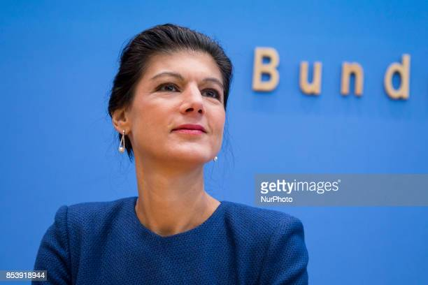 Top candidate of Die Linke party Sahra Wagenknecht is pictured during a press conference in Berlin Germany on September 25 2017