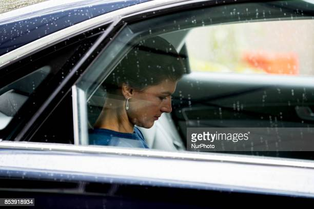 Top candidate of Die Linke party Sahra Wagenknecht leaves a press conference in Berlin Germany on September 25 2017