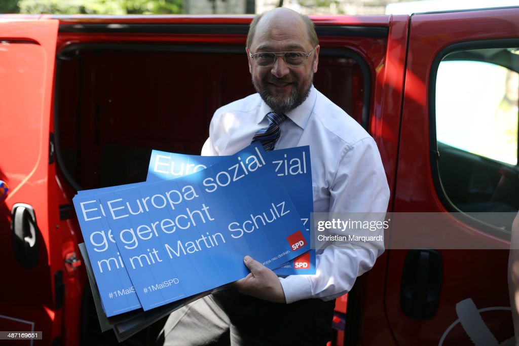 Top candidate of European Social Democracy for the European Parliament <a gi-track='captionPersonalityLinkClicked' href=/galleries/search?phrase=Martin+Schulz&family=editorial&specificpeople=598638 ng-click='$event.stopPropagation()'>Martin Schulz</a> (SPD) attends the presentation of the SPD election campaign posters next to Willy-Brandt Haus on April 28, 2014 in Berlin, Germany. Elections of the European Parliament will be held in all member states of the European Union (EU) between May 22 and 25, 2014.
