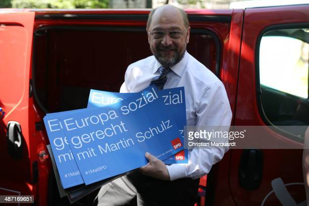 Top candidate of European Social Democracy for the European Parliament Martin Schulz attends the presentation of the SPD election campaign posters...