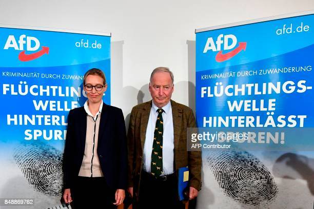 Top candidate of Germany's antiIslam antiimmigration AfD party Alice Weidel and Alexander Gauland arrive to give a press conference about immigration...