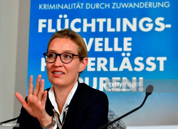 Top candidate of Germany's antiIslam antiimmigration AfD party Alice Weidel gestures during a press conference about immigration and Islam on...