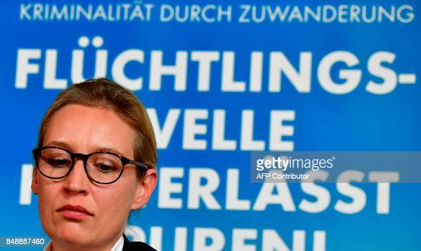 Top candidate of Germany's antiIslam antiimmigration AfD party Alice Weidel looks on during a press conference about immigration and Islam on...